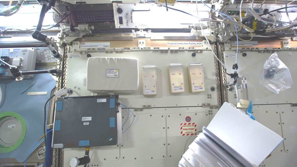 Three Airgloss NADIR units were installed by ESA astronaut Roberto Vittori inside the ISS in order to monitor air quality, searching for possible anomalies. Photo © NASA