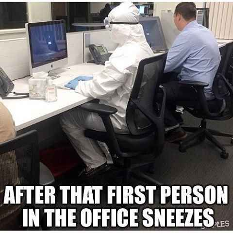 Sneezing without covering your face with a tissue or with your elbow is one of the worst office behaviours!